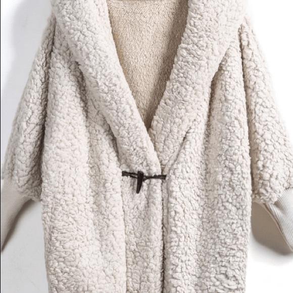 d8567ac8ea15c2 SHEIN Jackets & Coats   Apricot Hooded Batwing Long Sleeve Loose ...